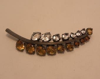 Vintage Sterling Silver Amber & Clear Rhinestone Leaf Brooch