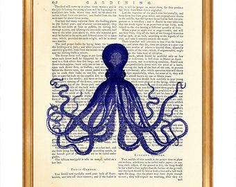 Genial Octopus Wall Art, Octopus Print, Blue Octopus Dictionary Art Print, Cyanea  Illustration Poster
