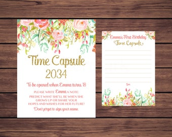 Floral Time Capsule Sign and Card, First Birthday Time Capsule, Baby's Time Capsule Pink Mint Gold Floral PDF Printable 896