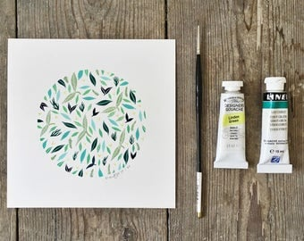 Naturesphere 1 - Original Art - Green Watercolor Painting - Contemporary Illustration, Botanical - by Natasha Newton