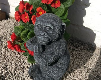 Stone monkey chimp garden ornament