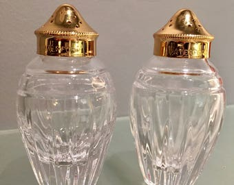 Vintage Waterford Lead Crystal Marquis Gold Salt and Pepper Shakers, Cut Crystal, Excellent Condition.