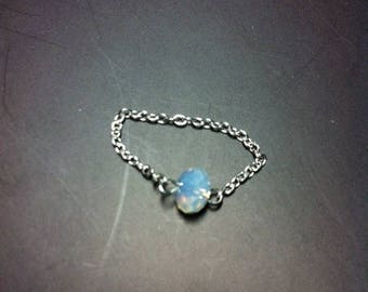 Ring chain swarovski chrysolite Opal on a silver chain 925