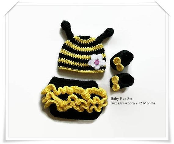 Newborn Baby Girl Bumble Bee Crochet Clothes