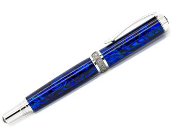 Aaron Rollerball Pen with Dark Blue Paua Abalone - Rhodium/Black Titanium