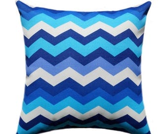 SALE Blue Outdoor Pillow Cover, Blue Navy Ivory Throw Pillow, Chevron Patio Pillow, Panama Wave Azzure Outdoor Pillow Cover, Navy Pillow Cas