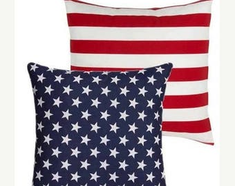 SALE American Flag Reversible Pillow Cover 12x16 18x18 20x20, Patriotic Pillow, Stars and Stripes Pillow, Red White and Blue, July 4th Decor