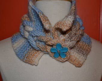 """Blue and beige """"TWIST"""" scarf neck hand knitted"""