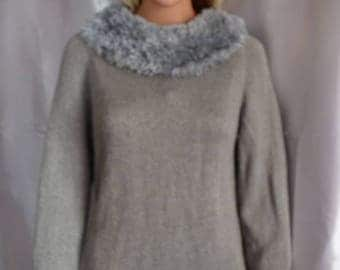 "linen sweater and acrylic ""fur"" collar"