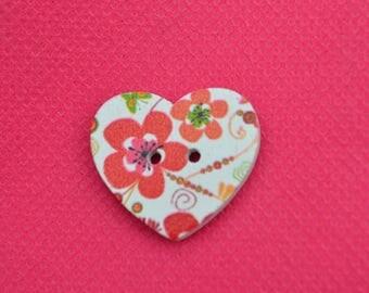 button wood heart 25mm diam.