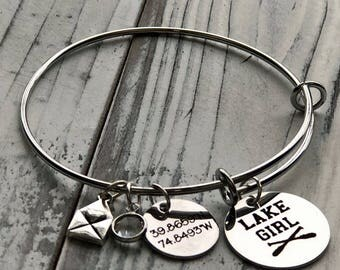 Lake Girl Personalized Adjustable Wire Bangle Bracelet