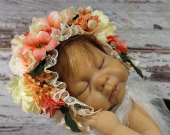 Flower bonnet ,Floral Bonnet, Flower baby Hat, newborn flower bonnet