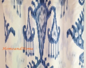 SALE Ends 6/25 Ikat Curtains 50W One pair Indigo blue drapery panels designer window curtains Blue drapery, custom panels, custom drapery