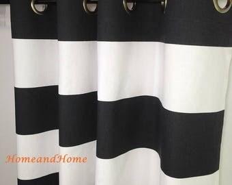 SALE Grommets Curtains Stripe curtain drapery panels custom drapes window treatment custom drapery panels Black White curtains 50 wide curta