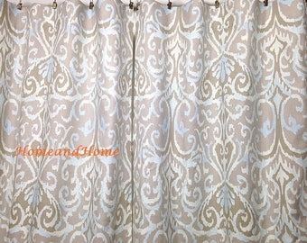 sale ikat curtains drapery panels window treatment designer 50w 2 panels ikat dusk ivory blue grey