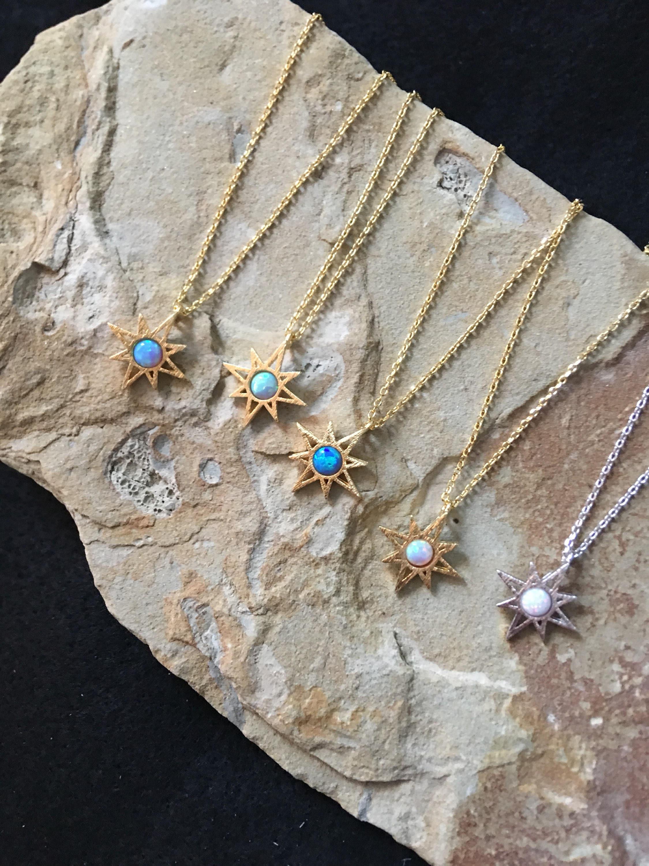 Sunburst necklace starburst necklace opal necklace mozeypictures Images