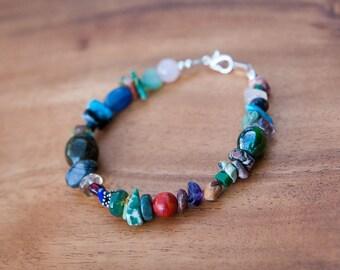 Eclectic Navajo Multi Stone Beaded Bracelet, Chunky Jewelry, Native American, Navajo Jewelry, Southwest Jewelry, Boho Chic