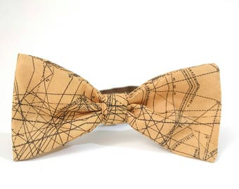 Graduation Gift, Men's Bowtie Camel, Scientist's Gift, Science Engineer, Spirodraft, Prime Cotton Bowtie, Adjustable Bow Tie, Geometric