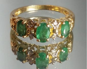 ON SALE 10K Solid Yellow Gold Emerald and Diamond Band Ring Retro Vintage