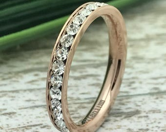 3MM Eternity Band, Rose Gold Plated Titanium Eternity Band,Cz Eternity Band,Eternity Ring,Polished,Comfort Fit, Bridal Ring, Grooms Ring