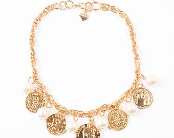 Vintage Moschino 90s Coin and Pearl Necklace