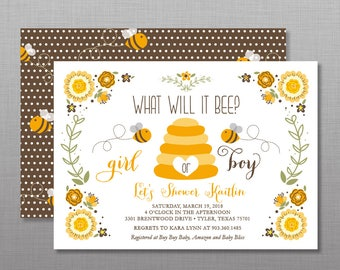 What Will It Bee Gender Reveal, Bumble Bee Shower Invitation, Gender Reveal Baby Shower Bee Theme