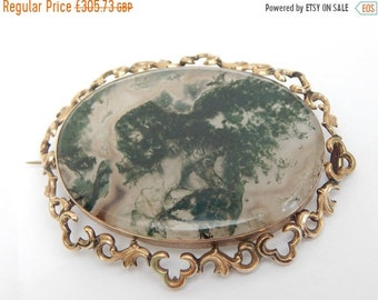 sale moss agate antique Victorian brooch pin - moss agate jewelry