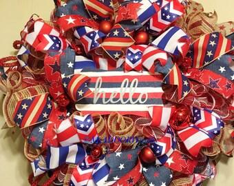 Hello Patriotic Wreath, Americana Rustic Wreath, 4th Of July Deco Mesh Wreath, Primitive Patriotic Wreath, Welcome Red White Blue Wreath, xl
