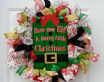 Christmas Wreath,Elf Wreath,Christmas Deco Mesh Wreath, Christmas Decor,Elf Door Decor, Elf Decor,Christmas Door Decor,Whismical Christmas