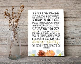 Printable art Inspirational quote print The Man in the Arena Theodore Roosevelt quote Gold and watercolor florals Motivational quote art