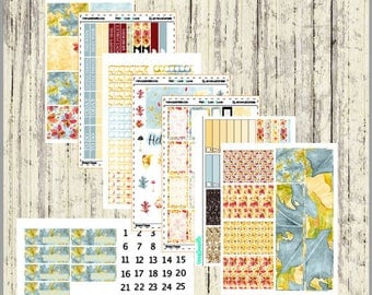 Fall Vertical Full Sticker Kit, Fall Stickers, Fall Planner Kit, Full Kit, Vertical Kit