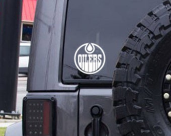 Oilers decal, FREE SHIPPING, Hockey, Canada teams, Edmonton Oilers, White vinyl decal, car sticker, laptop, hockey decal, sports, #184