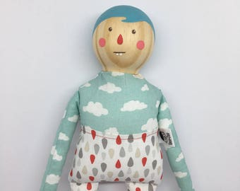 Wood and Fabric doll- Nubegota