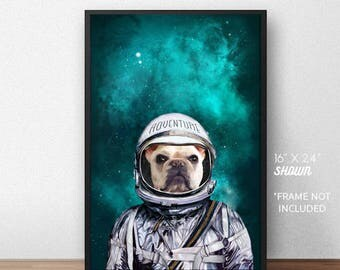 Custom Pet Portrait, pet portraits, pet astronaut, unique gifts, funny gifts, pet gift, pet memorial, gift ideas, pets, Unique gifts for men