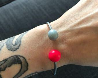 Polymer clay geometric shape bracelets - adjustable on small or medium wrists