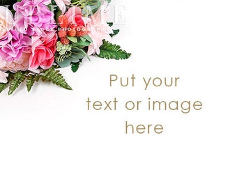 Stock Photo / Styled Stock Photography / Flowers / Floral / Spring / Spring Background / Bouquet / White Background / StockStyle-911