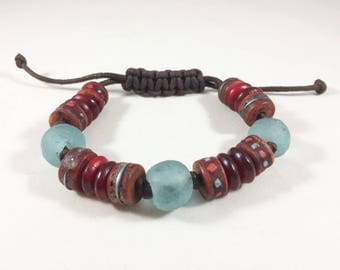Nepalese and African Sea Glass Beaded Bracelet