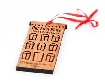 First Apartment Solid Wood Ornament - Personalized Engraved Christmas Ornament and Gift. Apartment building, Custom Marriage Solid Wood