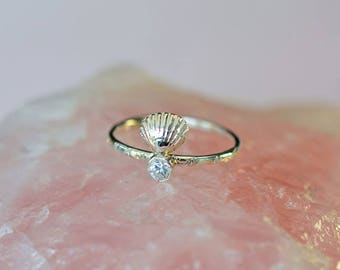 Seashell ring, birthstone ring, personalized ring, promise ring, mermaid ring, stacking ring, beach ring, ocean ring, gift for her