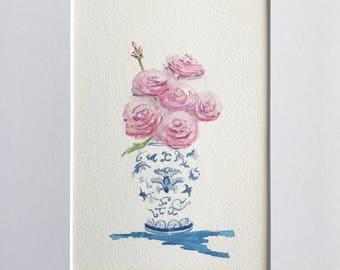 Ginger jar, Original art, Ranunculus flowers, Watercolor painting, Gift under 25., Birthday gift, Watercolor painting