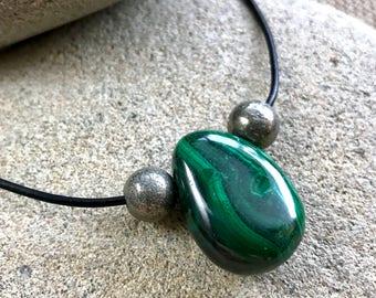 Malachite Pendant Necklace W/Pyrite Beads