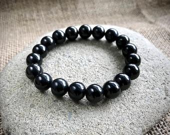Shungite Bracelet w/10mm Round Beads, Elasticized