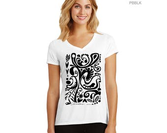 Tribal, Black Birds - V-neck T shirt  – black design, exclusive design, handmade in Hawaii