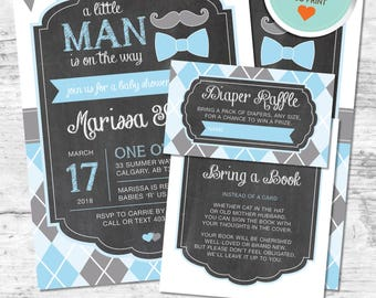 Little Man Baby Shower Invitation, Little Man Invitation, Blue, Gray, Flags, Argyle, Chalkboard | DIY
