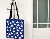 Blue Green Tote Bag Shopping Bag Craft bag Knitting bag in eyecatching Stripes  Sails design