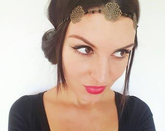 Bijou de tête fleurs et perles noires - headband original romantique _ headband bijoux.