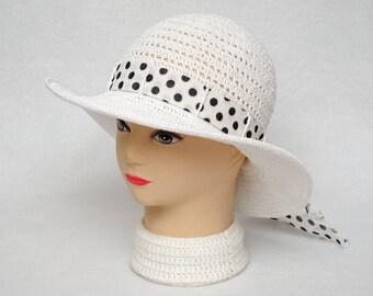 Polka Dots Summer Hat Classic Women Sun Hat Womens Hats Crochet Hat Beach Hat Ladies hat White wide brim hat womens gift wife gift for her