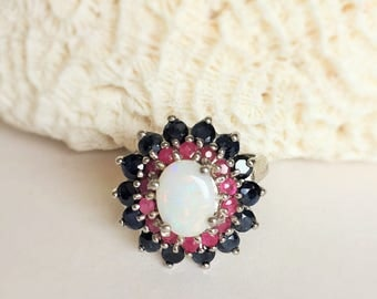 Statment Ring, Sapphire, Ruby & Opal Multi Stone Ring size 7 Vintage 5.2g