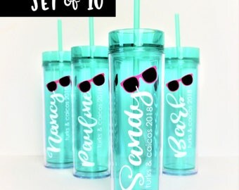 SET of 10 Vacation Tumbler // Girl's Weekend Cup // Beach Cup // Pool Tumbler // Skinny Tumbler // Bachelorette Party Tumbler