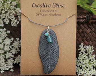 Handmade Essential Oil Diffuser Necklace | EO Clay Pendant | Oil Diffuser Jewelry | Aromatherapy | Feather | Shimming Dark Gray | Boho